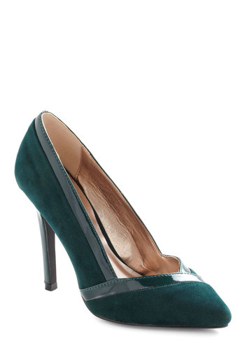 Make Yourself Spruce-ful Heel - Green, Solid, Trim, High, Party, Work, Vintage Inspired, Faux Leather