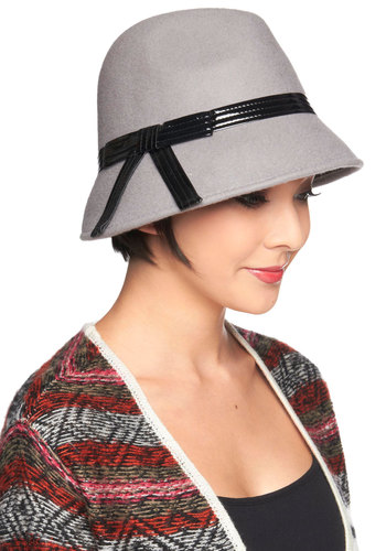 The Cloche Is Ticking Hat - Grey, Black, Bows, Trim, Casual, Film Noir, Vintage Inspired, 20s, 30s, Winter