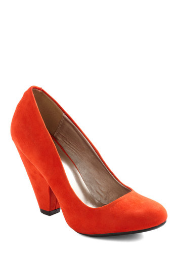 Everyday Energy Heel in Orange - Orange, Solid, High, Chunky heel, Work, Vintage Inspired, Faux Leather, Variation