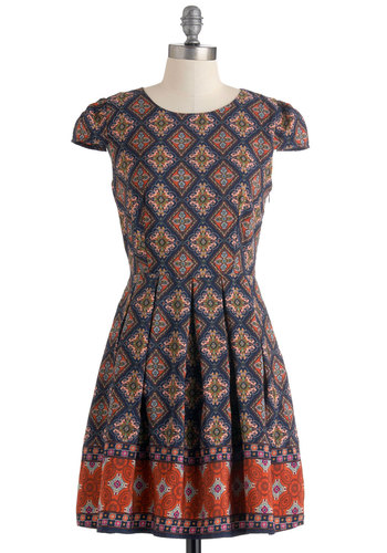 Call Them Like Museum Dress - Mid-length, Multi, Print, Cutout, Pleats, Casual, A-line, Cap Sleeves, Folk Art