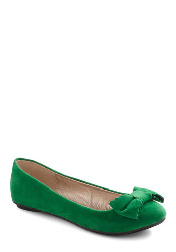 Sonata Moment Too Soon Flat - Green, Solid, Bows, Flat, Casual, Faux Leather