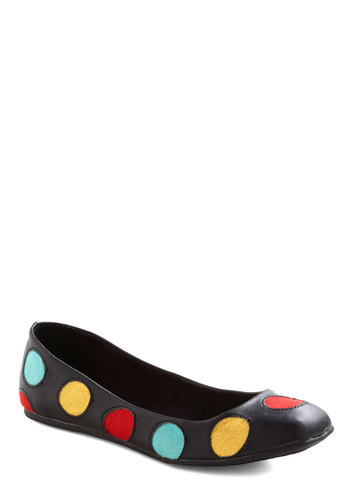 Disco Ball Dancer Flat - Black, Red, Yellow, Blue, Polka Dots, Casual, 80s, Multi, Vintage Inspired, Faux Leather, Flat