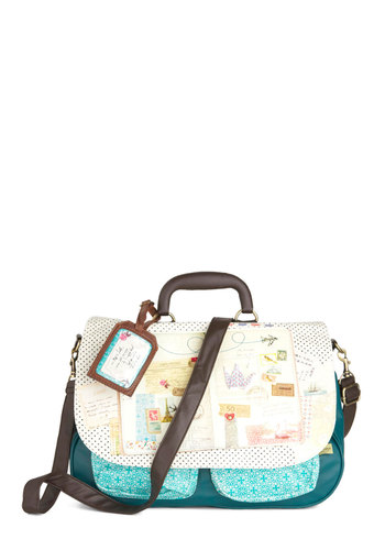 Round Trip Satchel by Disaster Designs - Blue, Brown, Tan / Cream, Multi, Pockets, Casual, Travel, French / Victorian
