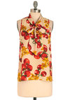 From My Garden Top - Mid-length, Red, Yellow, Green, Sleeveless, Tie Neck, Print, Vintage Inspired, Multi, Tan / Cream