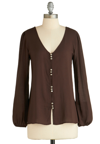 Sample 2053 - Brown, Solid, Buttons, Cutout, Boho, Long Sleeve