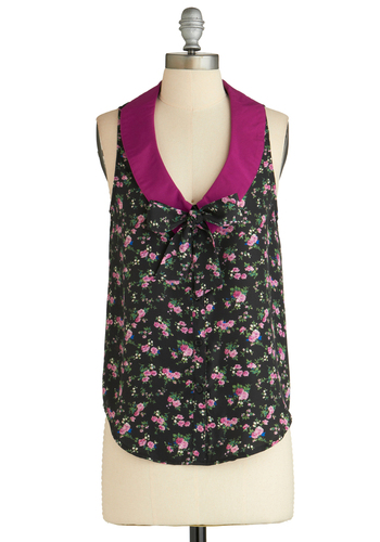 Sample 2054 - Black, Green, Blue, Pink, Floral, Sleeveless, Tie Neck