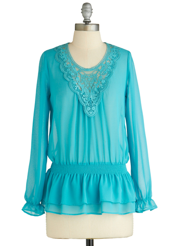 Sample 2050 - Blue, Solid, Lace, Long Sleeve, Lace