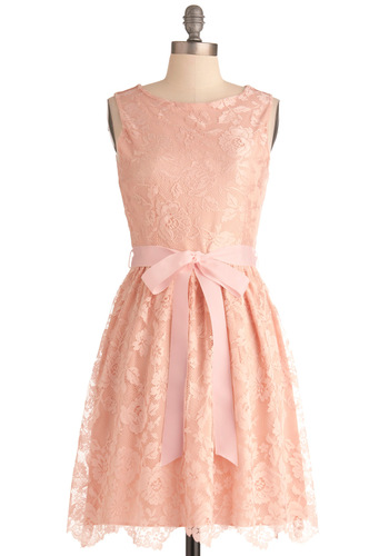 Looking Like a Million Bucks Dress in Blush - Mid-length, Pink, Lace, Wedding, Party, Solid, Sleeveless, Pastel, Belted, Cocktail, Fit & Flare, Variation, Press Placement, Graduation, Formal