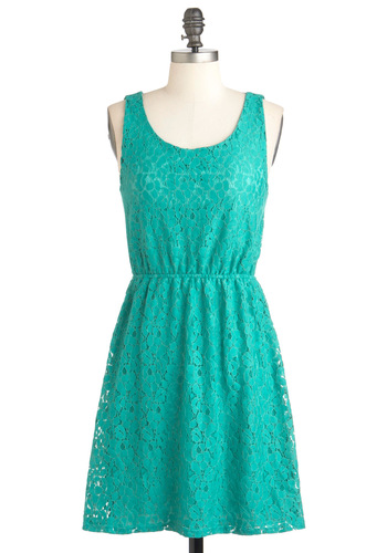 Colored Glass Dress - Green, Mid-length, Backless, Cutout, Party, A-line, Sleeveless, Summer