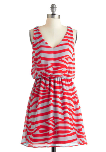 Pattern Around Bright Dress - Mid-length, Red, Grey, Print, Backless, A-line, Sleeveless, Summer, Party, V Neck