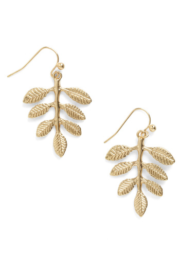 Leafing So Soon? Earrings - Gold, Casual, Gold