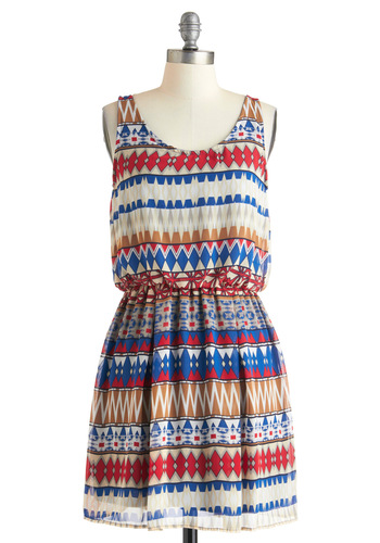 Made in the Shapes Dress - Multi, Red, Blue, Tan / Cream, White, Print, Casual, A-line, Tank top (2 thick straps), Short