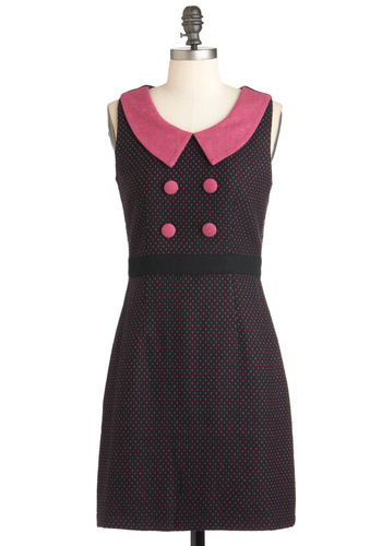 Extraordinary Efforts Dress - Mid-length, Black, Pink, Polka Dots, Buttons, Peter Pan Collar, Work, Sheath / Shift, Sleeveless, Vintage Inspired, 60s, Mod, Scholastic/Collegiate, Collared