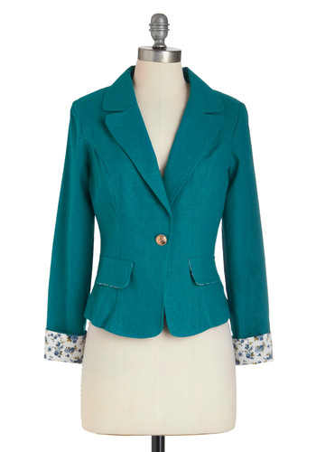 You're Teal the One Blazer - Blue, White, Solid, Menswear Inspired, Long Sleeve, Short, Work, Casual, 1