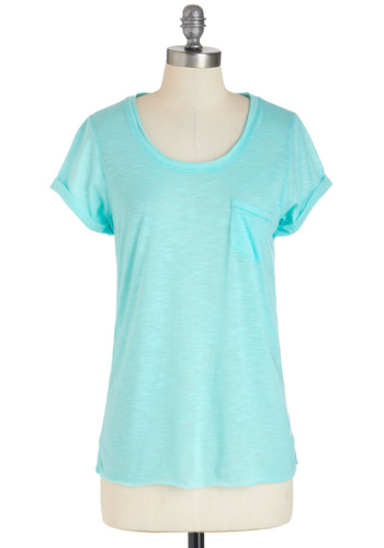 Pocket Perfect Tee - Blue, Solid, Pockets, Casual, Short Sleeves, Mid-length, Pastel, Sheer, Mint