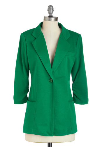Couldn't A-green More Blazer - Green, Solid, Pockets, Menswear Inspired, Mid-length, Work, 1.5
