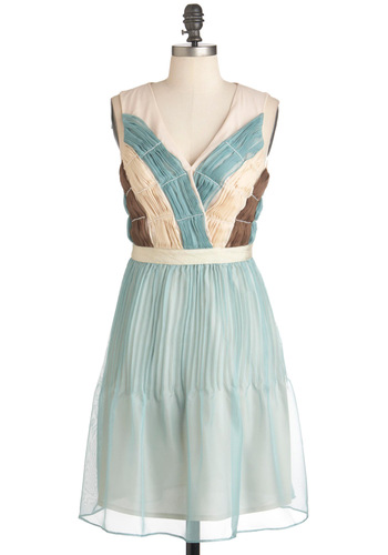 Siren of the Sea Dress by Ryu - Mid-length, Blue, Brown, Tan / Cream, Pleats, Wedding, Party, A-line, Sleeveless, Spring, French / Victorian, V Neck, Tis the Season Sale