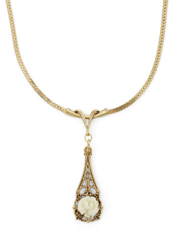 Floret Me Be There Necklace - Gold, White, Flower, Work, Vintage Inspired, Wedding, Graduation