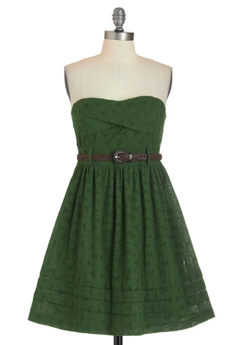 Fern by Heart Dress - Green, Casual, Empire, Belted, Strapless, Solid, Cotton, Fit & Flare, Sweetheart