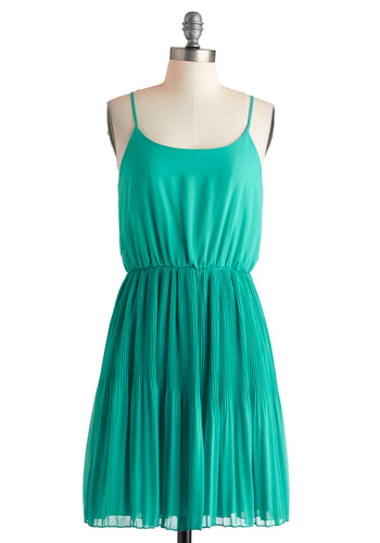 Teal the Spotlight Dress - Mid-length, Green, Solid, Pleats, Party, A-line, Racerback, Summer, Casual