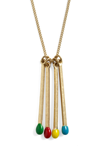 Strike Four Necklace - Multi, Gold, Casual, Urban
