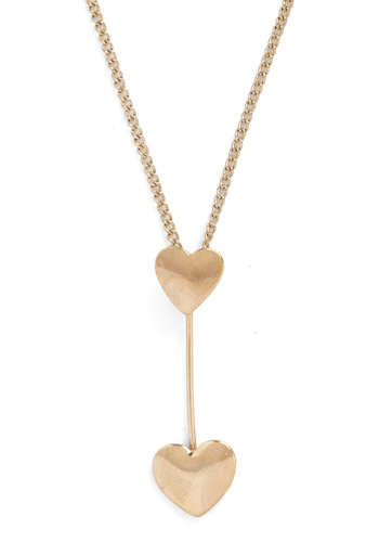 Delight-Hearted Necklace - Gold, Solid, Casual