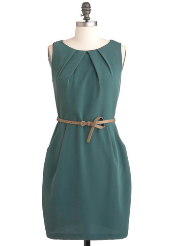 Spruce Be Told Dress - Green, Solid, Pockets, Work, Sheath / Shift, Sleeveless, Belted, Short, Pleats