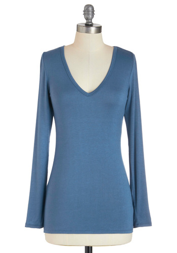 You and V Top in Lake Blue - Blue, Solid, Long Sleeve, Casual, Mid-length, Jersey, V Neck, Travel