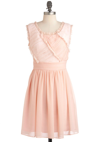 Think Petal Pink Dress - Mid-length, Pink, Wedding, Party, A-line, Sleeveless, Summer, Ruching, Vintage Inspired, Fairytale, Pastel, Daytime Party
