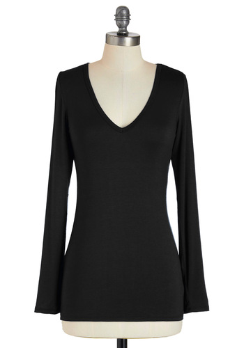 You and V Top in Black - Black, Solid, Long Sleeve, Casual, Fall, Mid-length, Jersey, V Neck