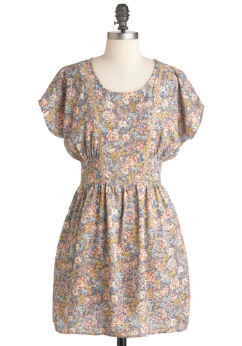 Tender Loving Carolina Dress - Short, Multi, Floral, Pockets, Casual, A-line, Short Sleeves, Spring, Multi