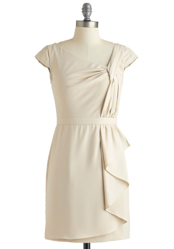 Twists and Head Turns Dress - Short, Cream, Solid, Wedding, Party, Shift, Cap Sleeves, Spring, Vintage Inspired