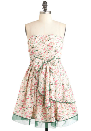 Bouquet Building Dress - Cream, Green, Pink, Floral, Party, Strapless, Spring, Fit & Flare, Fairytale, Mid-length