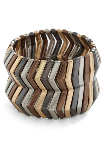 Oblique Mystique Bracelet - Multi, Silver, Bronze, Gold, Stripes, Casual, 80s, Statement, Girls Night Out