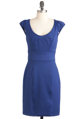Social Architect Dress - Mid-length, Blue, Solid, Work, Shift, Cap Sleeves