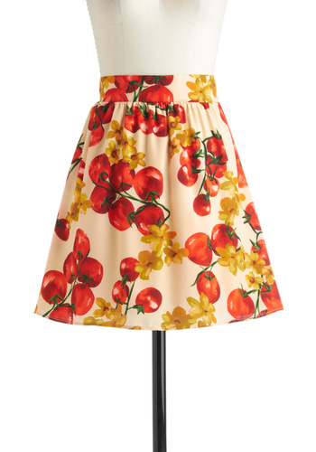 From My Garden Skirt - Short, Red, Yellow, Green, A-line, Multi, Tan / Cream, Novelty Print, Casual, Daytime Party, Top Rated