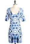 Beauty in the Bell Tower Dress by Motel - Short, Blue, White, Print, 3/4 Sleeve, Spring, Bodycon / Bandage, Party, Cotton