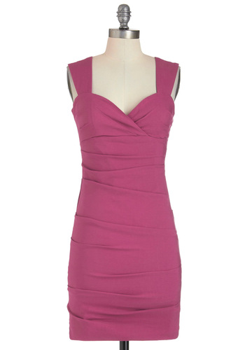 Sheath So Glamorous Dress - Solid, Party, Shift, Short, Pink, Sleeveless, Girls Night Out, Bodycon / Bandage, Sweetheart