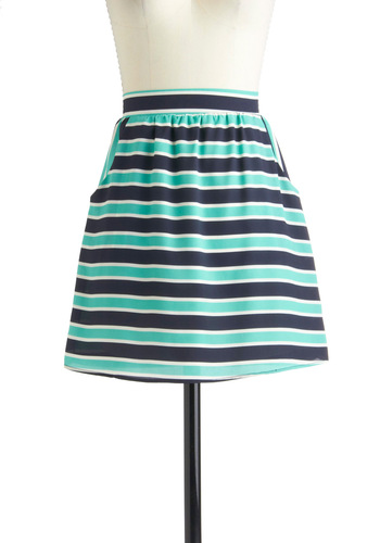 Waving Water Skirt - Green, White, Stripes, Pockets, Casual, A-line, Short, Blue