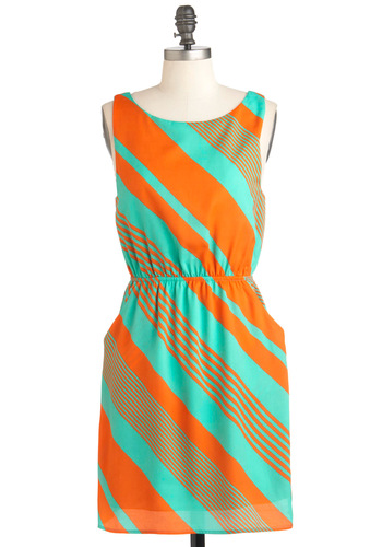 Slant Be Stopped Dress - Orange, Blue, Stripes, Pockets, Casual, Summer, Mid-length, A-line, Sleeveless