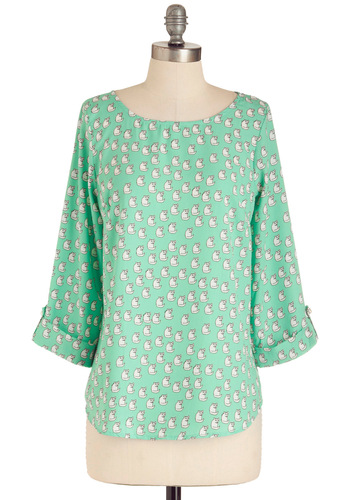 Meow About That Top - Green, White, Print with Animals, Casual, Mid-length, Pastel, Mint, Boat, 3/4 Sleeve, Press Placement
