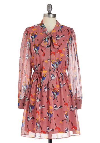Try a New A-perch Dress - Pink, Multi, Print with Animals, Long Sleeve, Fall, Mid-length, Shift, Work, Sheer, Tis the Season Sale