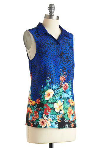 Tropic and Choose Top - Blue, Green, Pink, Black, Floral, Animal Print, Buttons, Sleeveless, Casual, Button Down, Collared
