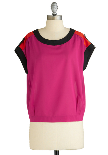 Sample 2059 - Pink, Red, Black, Buttons, Casual, Short Sleeves