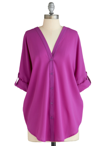 Sample 2058 - Purple, Solid, Buttons, Cutout, Casual, Short Sleeves