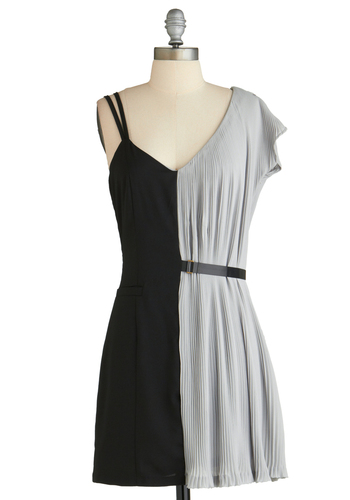 Sample 2119 - Black, Grey, Pleats, Party, A-line, Short Sleeves, Spaghetti Straps, Belted