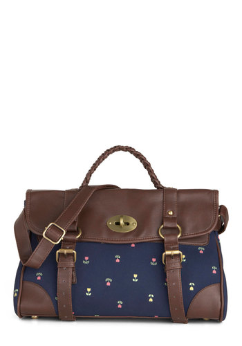 Test Prep Satchel - Blue, Brown, Multi, Floral, Casual, Travel, Folk Art, Work