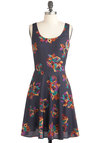 Seine a Message Dress - Mid-length, Blue, Multi, Floral, Casual, A-line, Tank top (2 thick straps), Summer, Fit & Flare