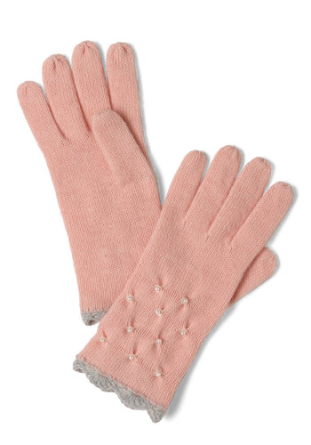 Ladylike I Said Gloves by Alice Hannah London - Pink, Grey, White, Pearls, Sequins, Winter, Casual