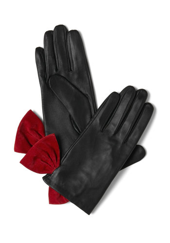 In With the Avenue Gloves - Black, Red, Bows, Vintage Inspired, Winter, Party, Leather, Holiday Party, 20s